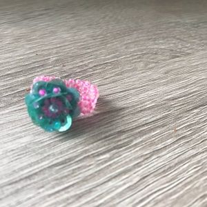 Jewelry - Pink and Turquoise Beaded Flower Ring 🌺